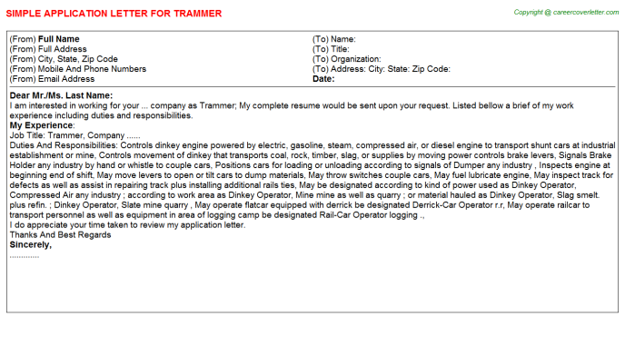 Trammer Application Letter Template