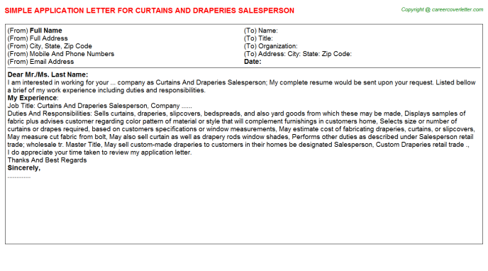 Curtains And Draperies Salesperson Application Letter Template