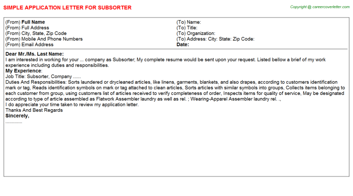 Subsorter Application Letter Template