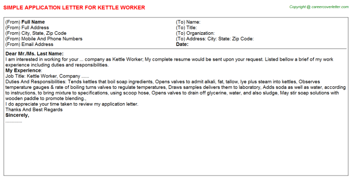 kettle worker application letter template