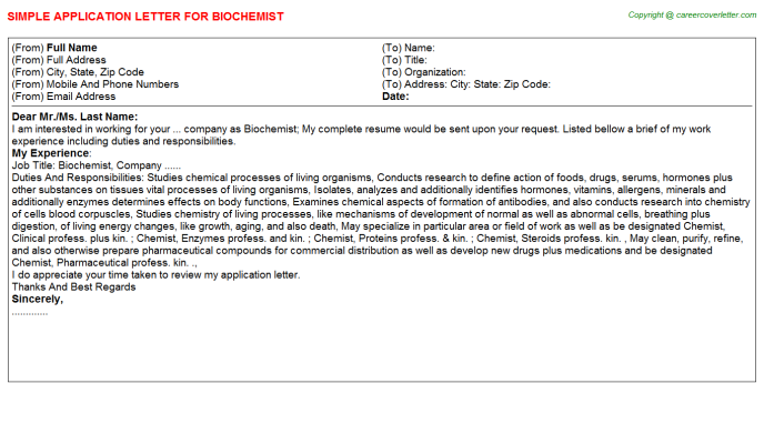 Biochemist Application Letter Template