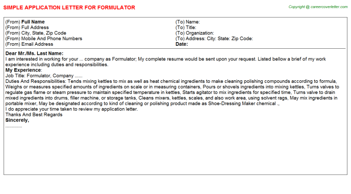 Formulator Application Letter Template