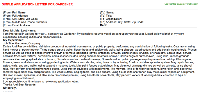 Gardener Application Letter Template