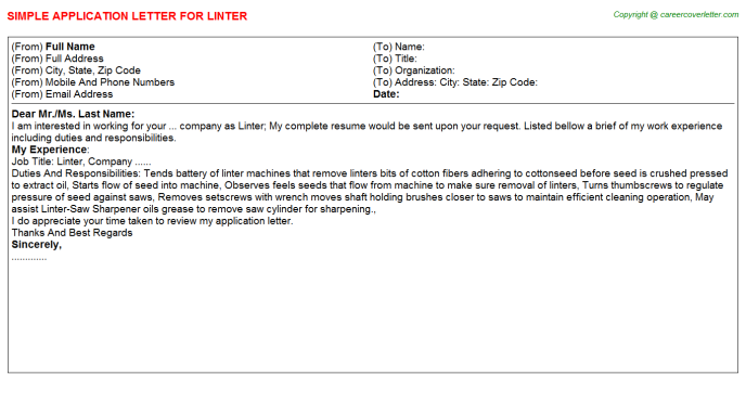 Linter Application Letter Template