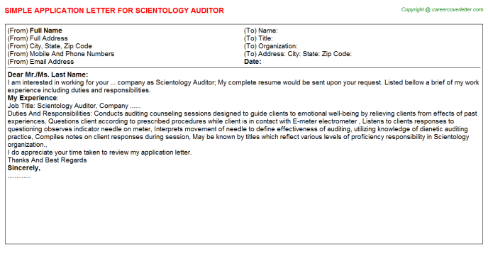 scientology auditor application letter template