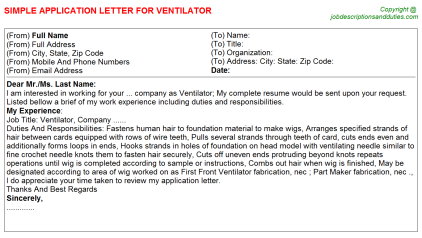 Ventilator Job Application Letter Template