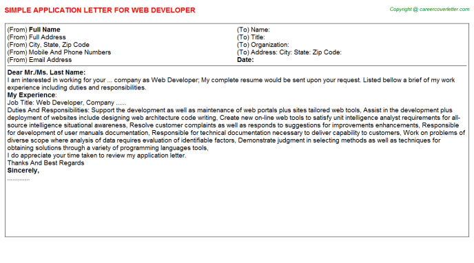 Web developer job application letter (#25700)