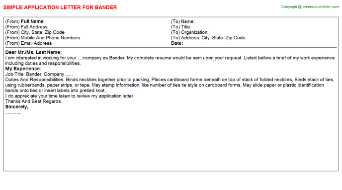 Bander Job Application Letter Template