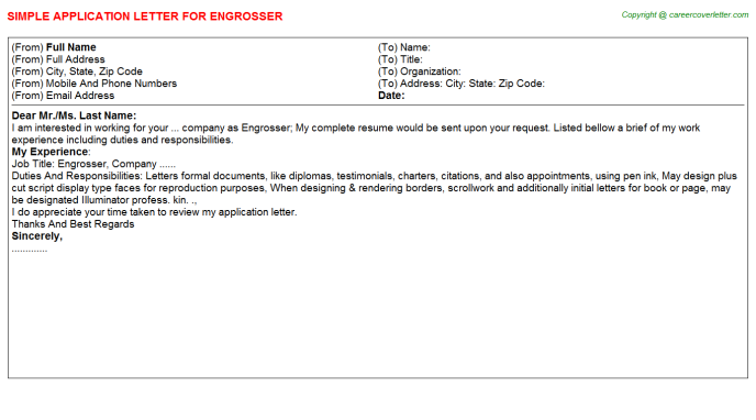 Engrosser Job Application Letter Template