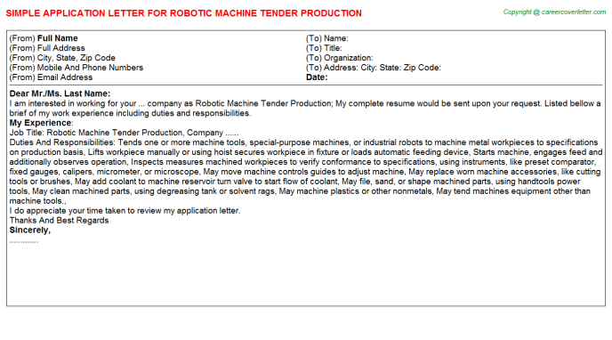 Robotic Machine Tender Production Job Application Letter Template