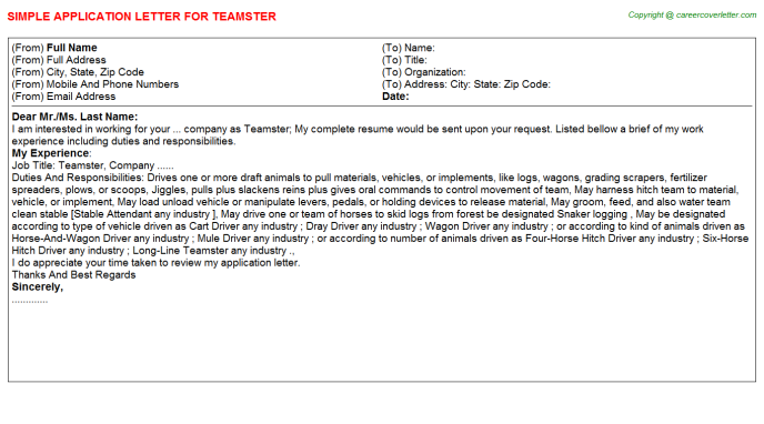 Teamster Job Application Letter Template