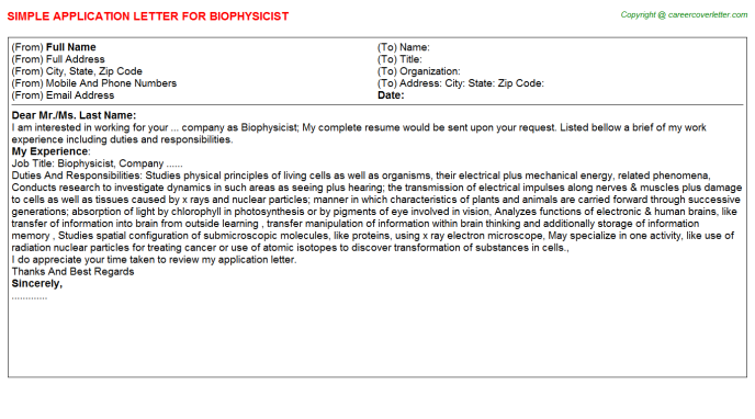 Biophysicist Job Application Letter Template