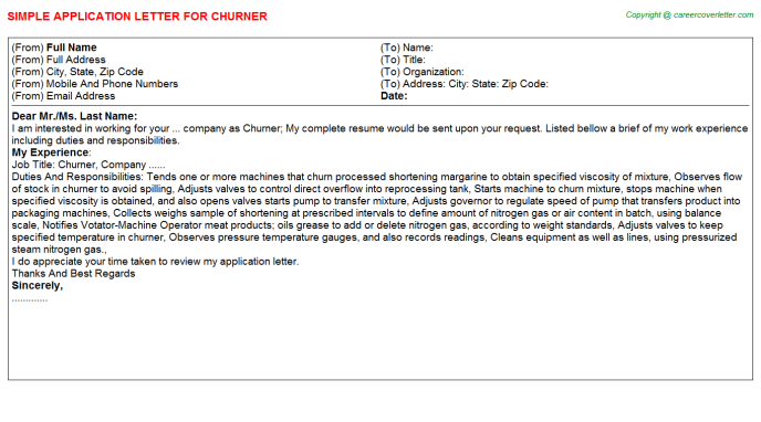 Churner Job Application Letter Template