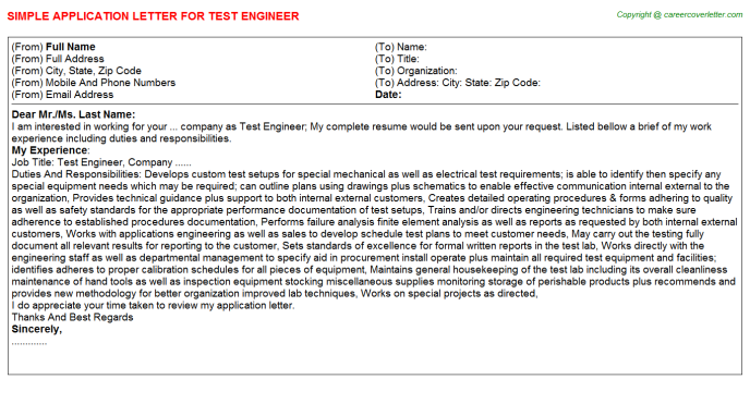 Test Engineer Application Letter Template