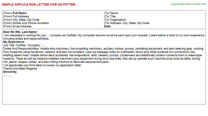 Outfitter Job Application Letter Template
