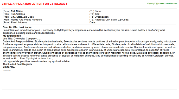 Cytologist Application Letter Template