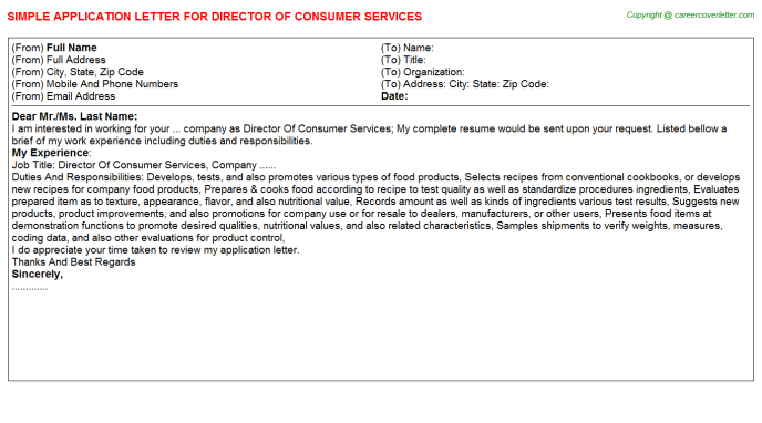 director of consumer services application letter template