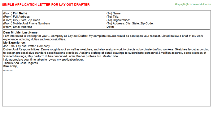 Solidworks Drafter Job Application Letters