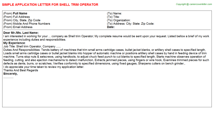 Shell Trim Operator Job Application Letter Template