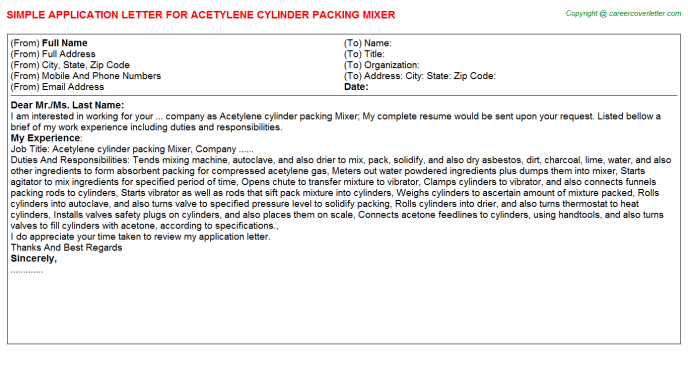Acetylene Cylinder Packing Mixer Application Letter Template
