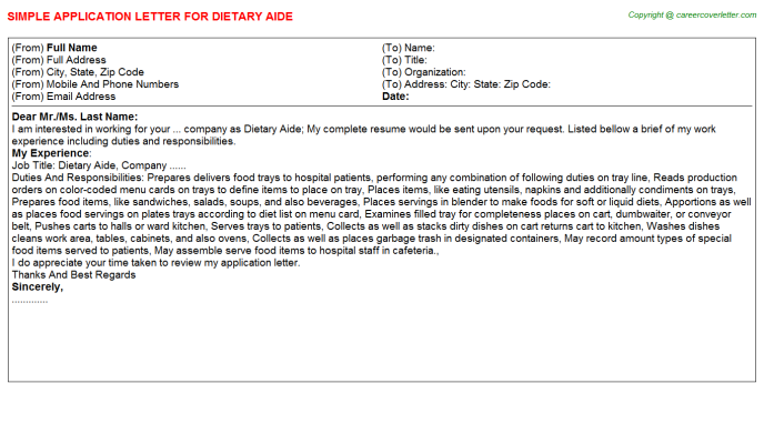 Dietary Aide Application Letter Template