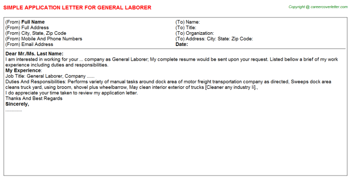 General Laborer Application Letter Template