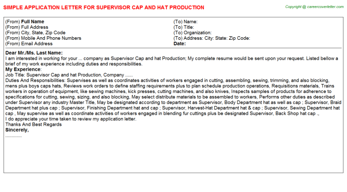 Supervisor Cap and hat Production Application Letter Template