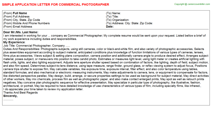 commercial photographer application letter template