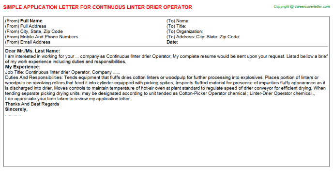continuous linter drier operator application letter template