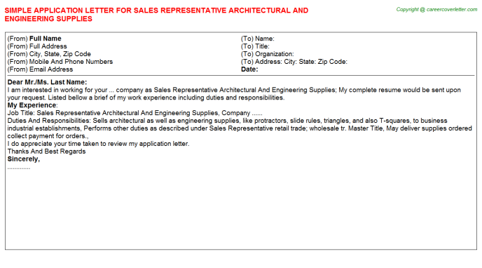 sales representative architectural and engineering supplies application letter template