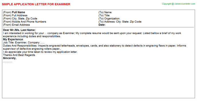 Examiner Job Application Letter Template