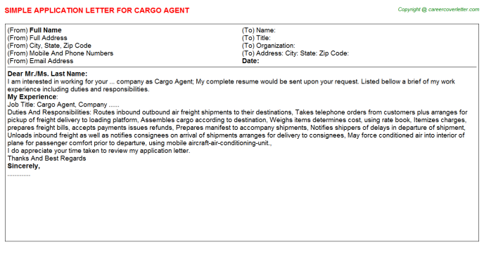 Cargo Agent Application Letter Template