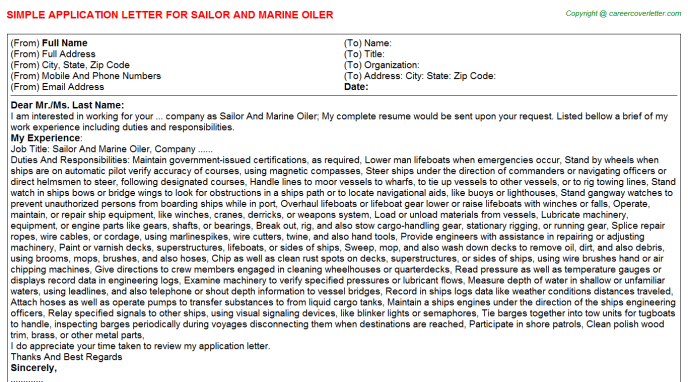 Sailor And Marine Oiler Application Letter Template