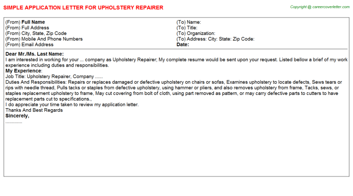 Upholstery Repairer Job Application Letter Template