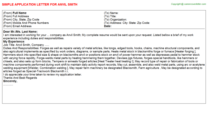 Anvil Smith Application Letter Template