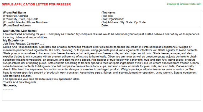 Freezer Application Letter Template