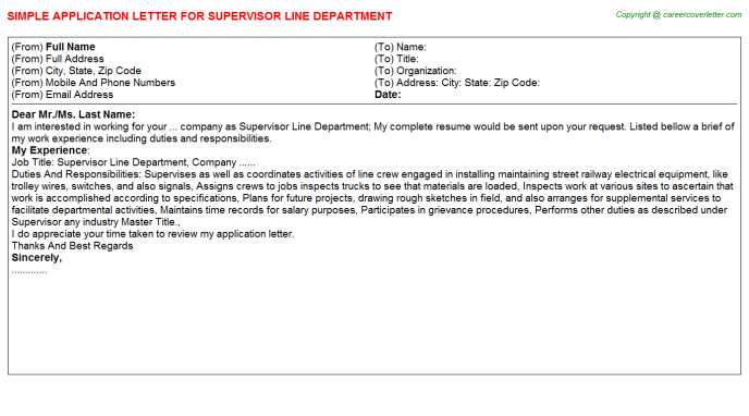Supervisor Line Department Application Letter Template