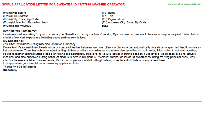 sweatband cutting machine operator job application letter
