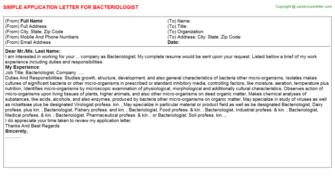 Bacteriologist Application Letter Template