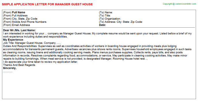 Manager Guest House Job Application Letter Template