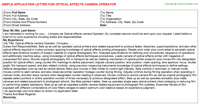 Optical Effects Camera Operator Job Application Letter Template