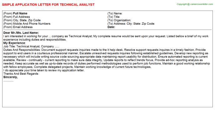 Technical Analyst Application Letter Template