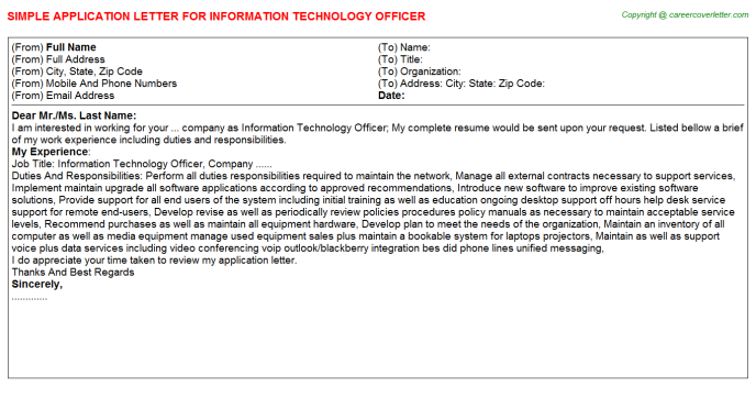 Information Technology Officer Application Letter Template