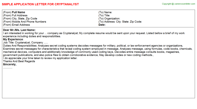 Cryptanalyst Application Letter Template