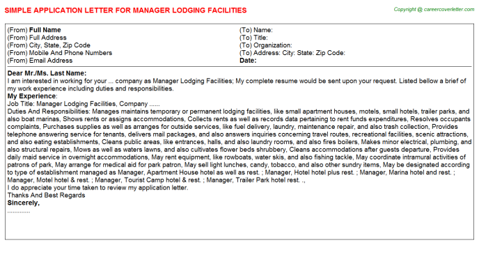 manager lodging facilities application letter template