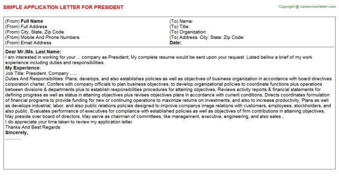 President Job Application Letter Template