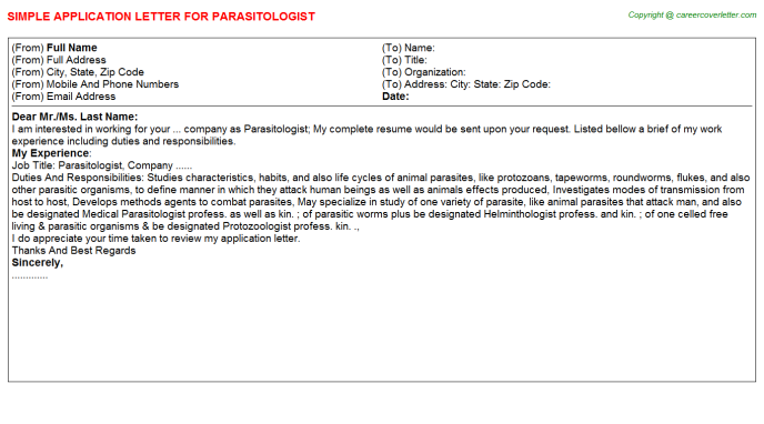 Parasitologist Application Letter Template