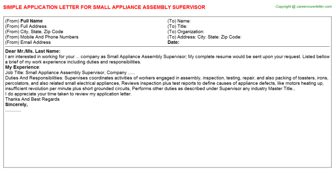Small Appliance Assembly Supervisor Application Letter Template