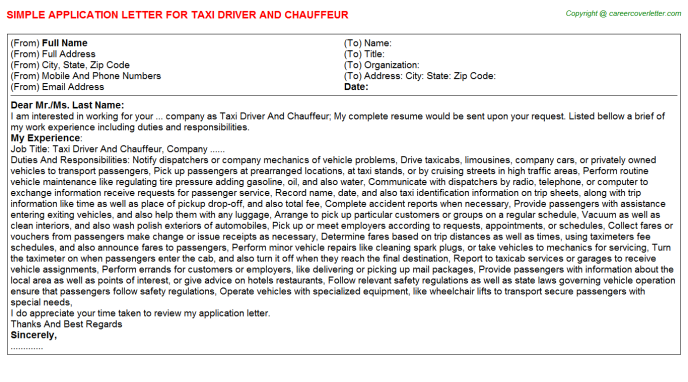 Taxi Driver And Chauffeur Job Application Letters