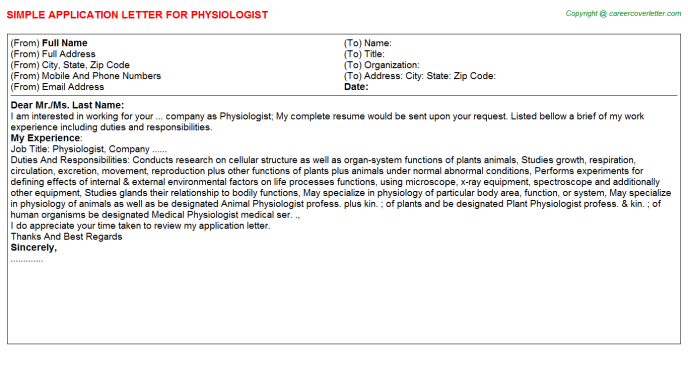Physiologist Application Letter Template